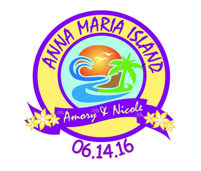 Beach party wedding logo design