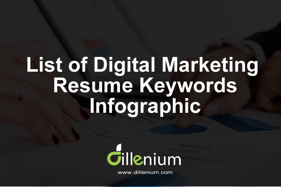 list of digital marketing resume keywords infographic