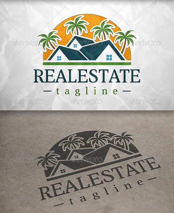 beach real estate logo design template