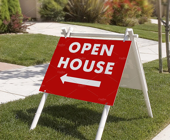 directional open house signs