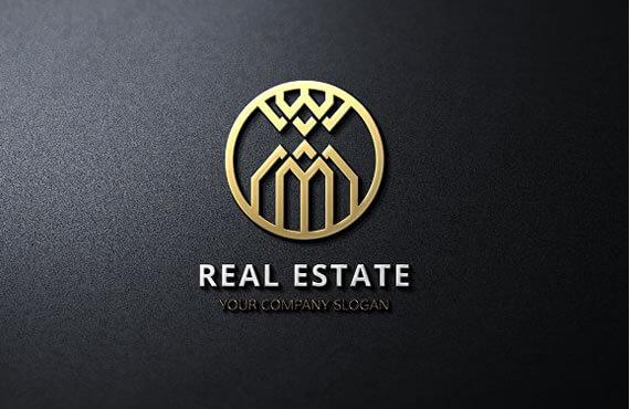 golden real estate logo design template