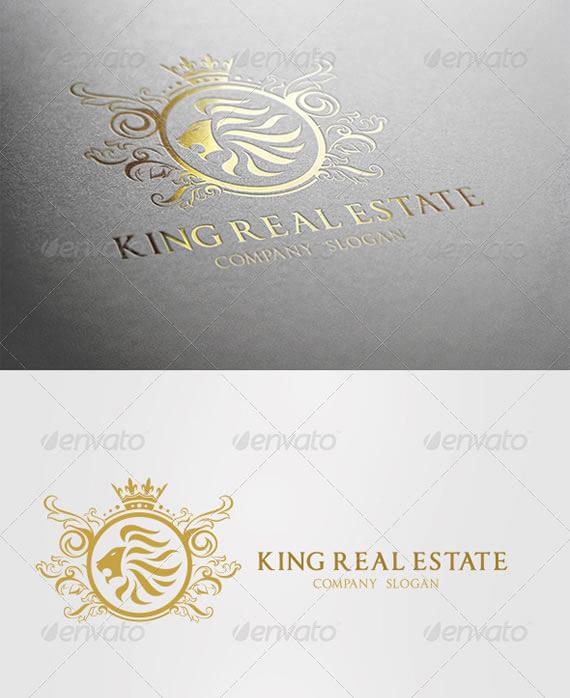 king real estate logo design template