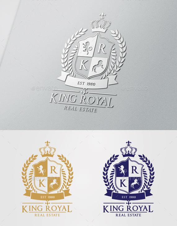 King royal real estate logo design template
