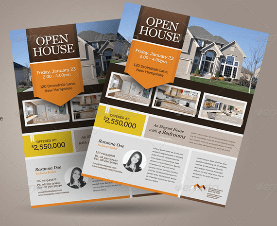 real estate open house template flyer