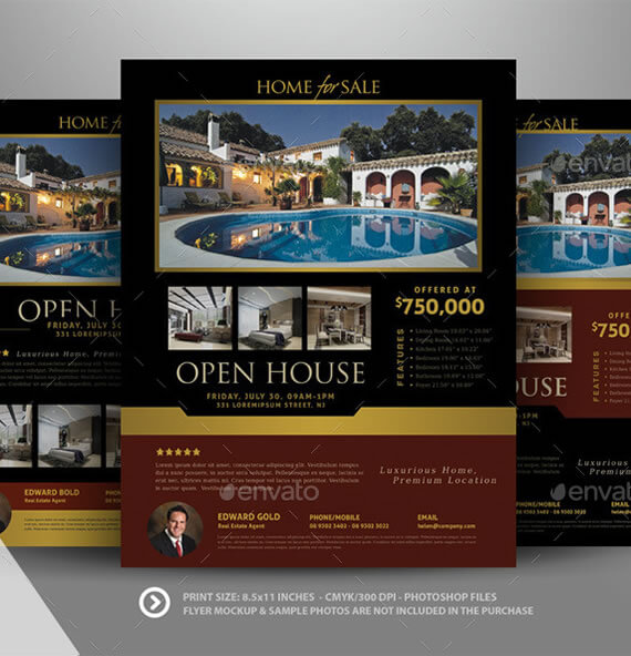 Real Estate Open House Template  Open House Flyer Template