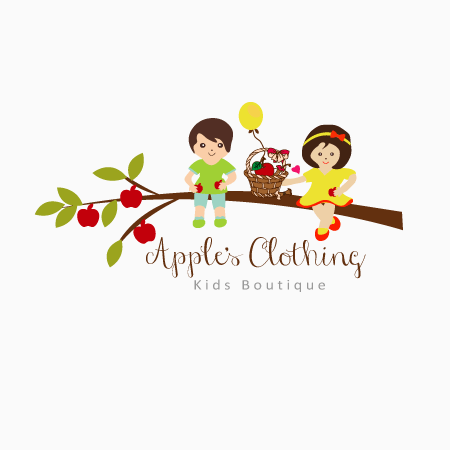 eye catching apple kids clothing logo design for baby boutique