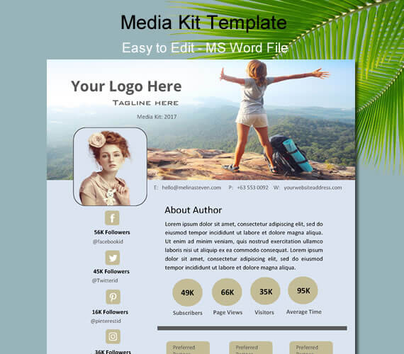 5 editable media kit template for bloggers electronic press kit media kit for blogger one page media kit ms word maxwellsz