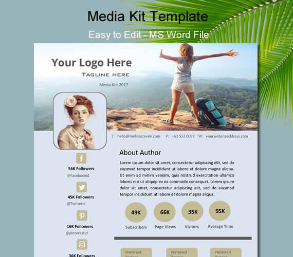 5+ Editable Media Kit Template for Bloggers - Electronic Press Kit