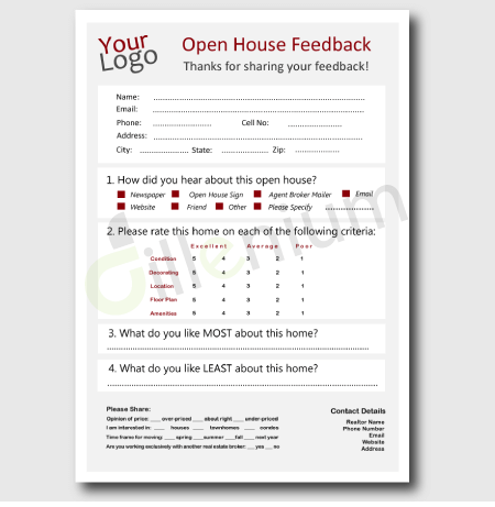 Real Estate Open House Feedback Form For Realtors