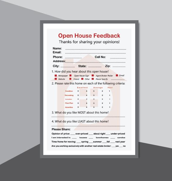 real estate open house kit  printables  for realtor