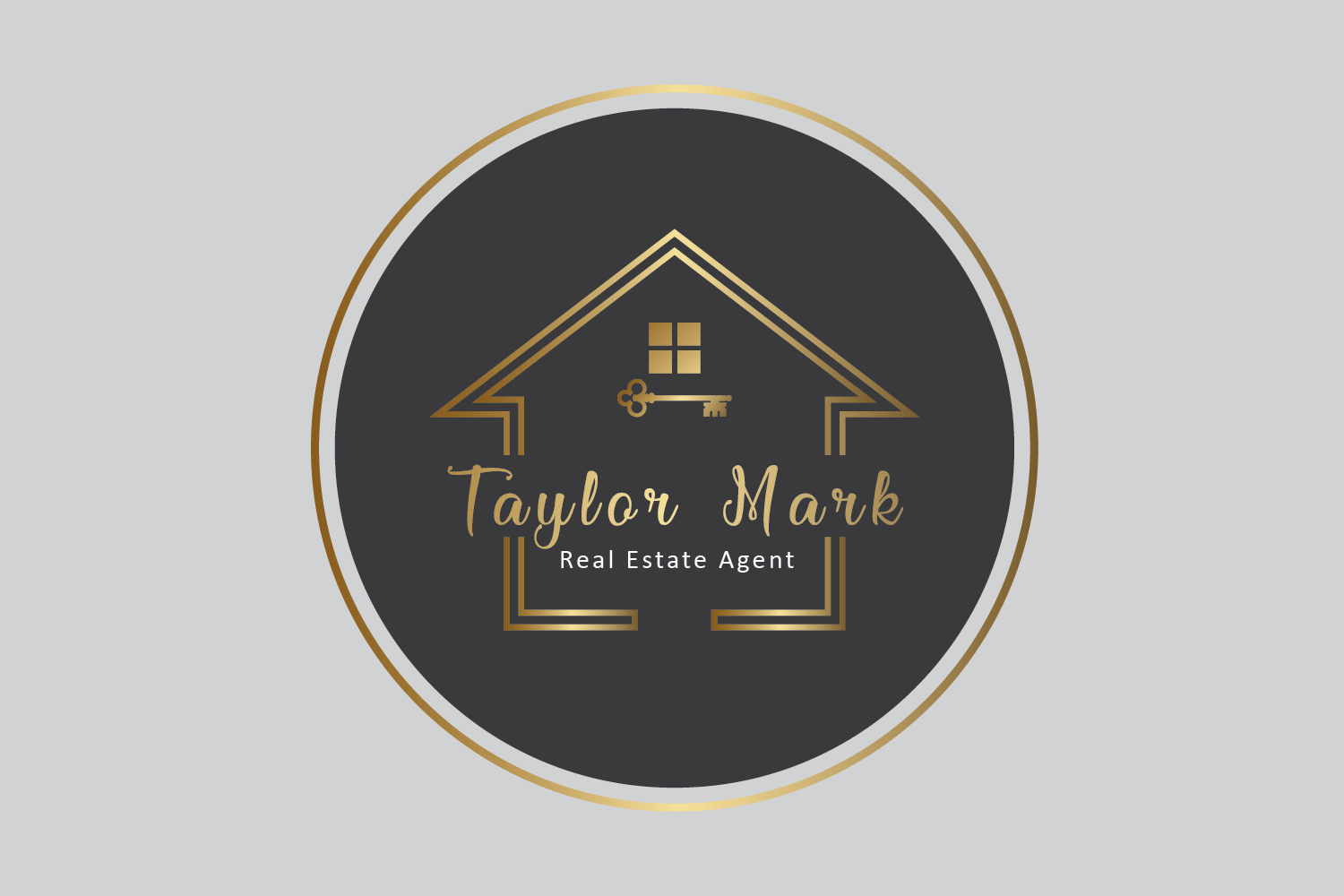 real estate agent logo with house sign